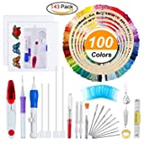 Embroidery Starter Kit Full Set - Including Magic Embroidery Pen Punch Needle,5 Pieces Bamboo Embroidery Hoops, 100 Color Threads,Embroidery Needles Stitching Punch Pen Set Craft Tool for Beginner (Color: Red1)
