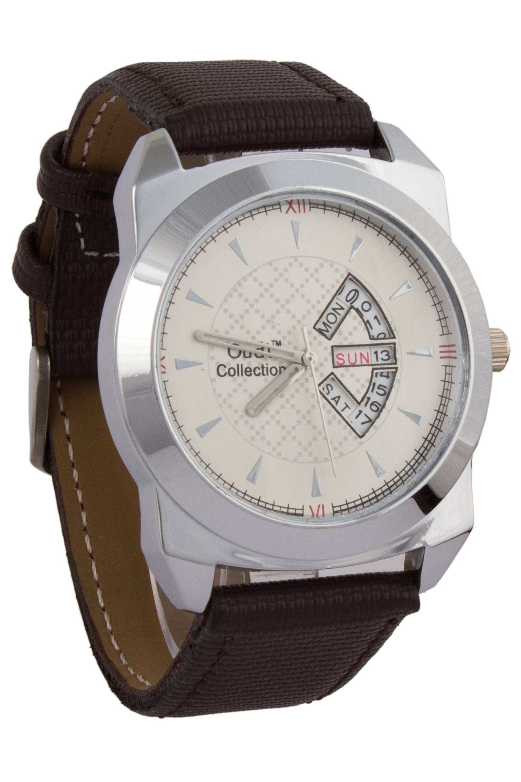 Addic Audi Cream Dial With Date Panel And Black Leather Strap Watch For Men