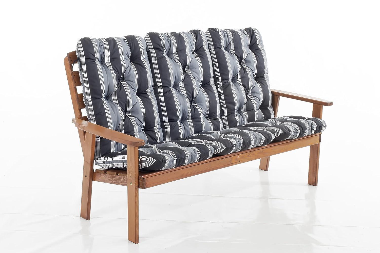 Trendy-Home24 3er Massivholz Bank Hanko MAXI braun Gartenbank 3-Sitzer Holzbank inklusive Kissen Auflagen bestellen