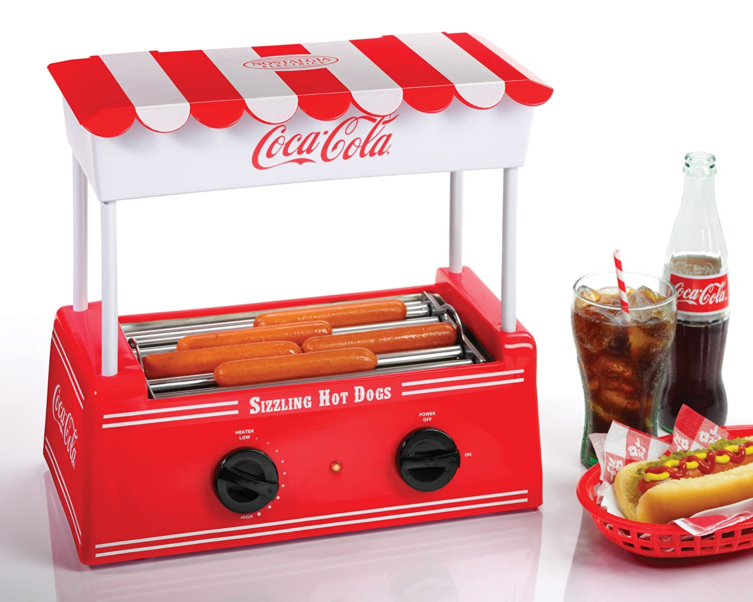 hot dog maker machine retro coke coca cola nostalgia electric roller warmer bun ebay. Black Bedroom Furniture Sets. Home Design Ideas