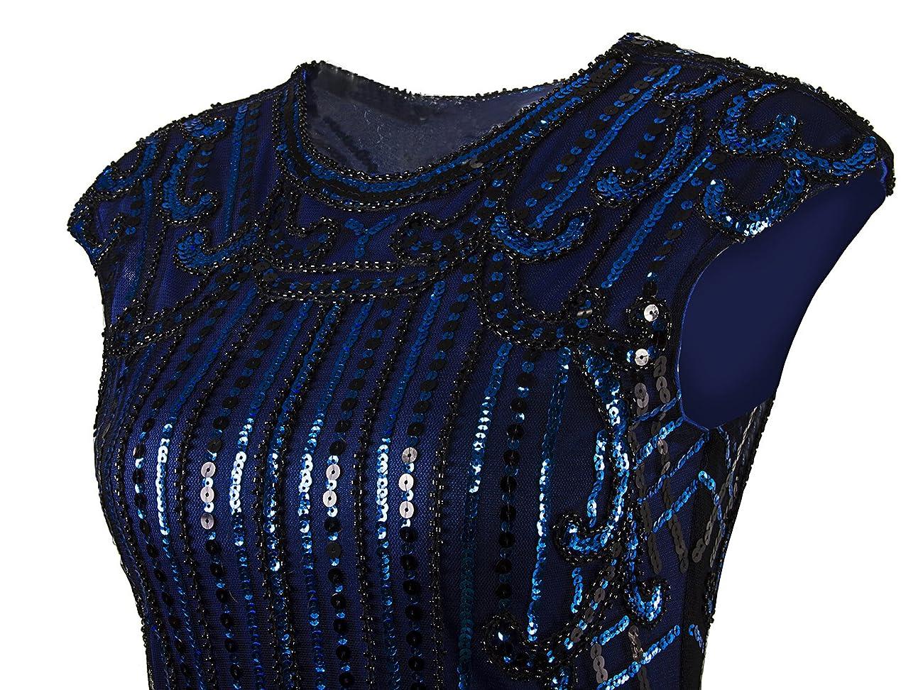 Vijiv 1920s Vintage Inspired Sequin Embellished Fringe Long Gatsby Flapper Dressblue 4