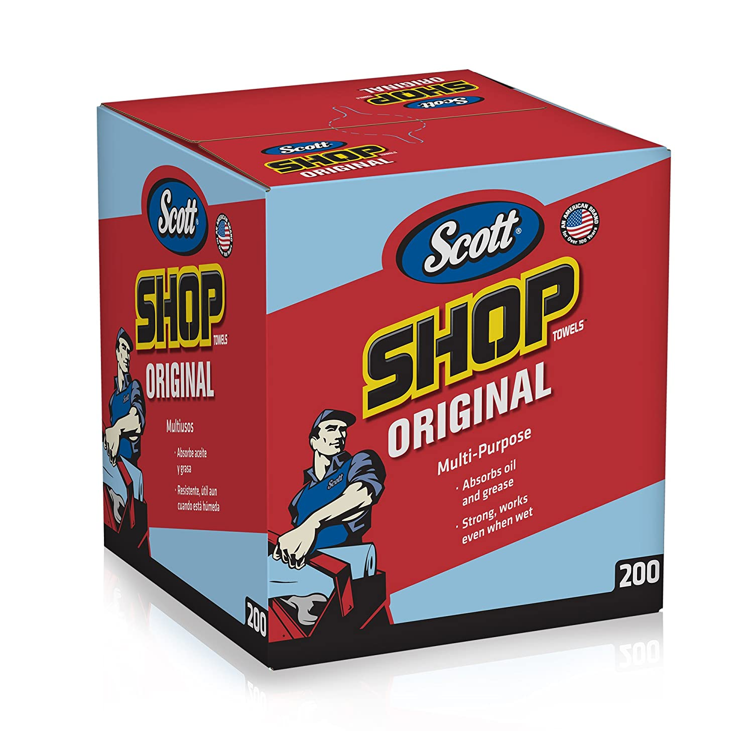 Scott Shop Paper Towels Original (75190), Blue Shop Towels, Pop-Up Dispenser Box, 200 Bulk Paper Towels / Box, 8 Boxes / Case