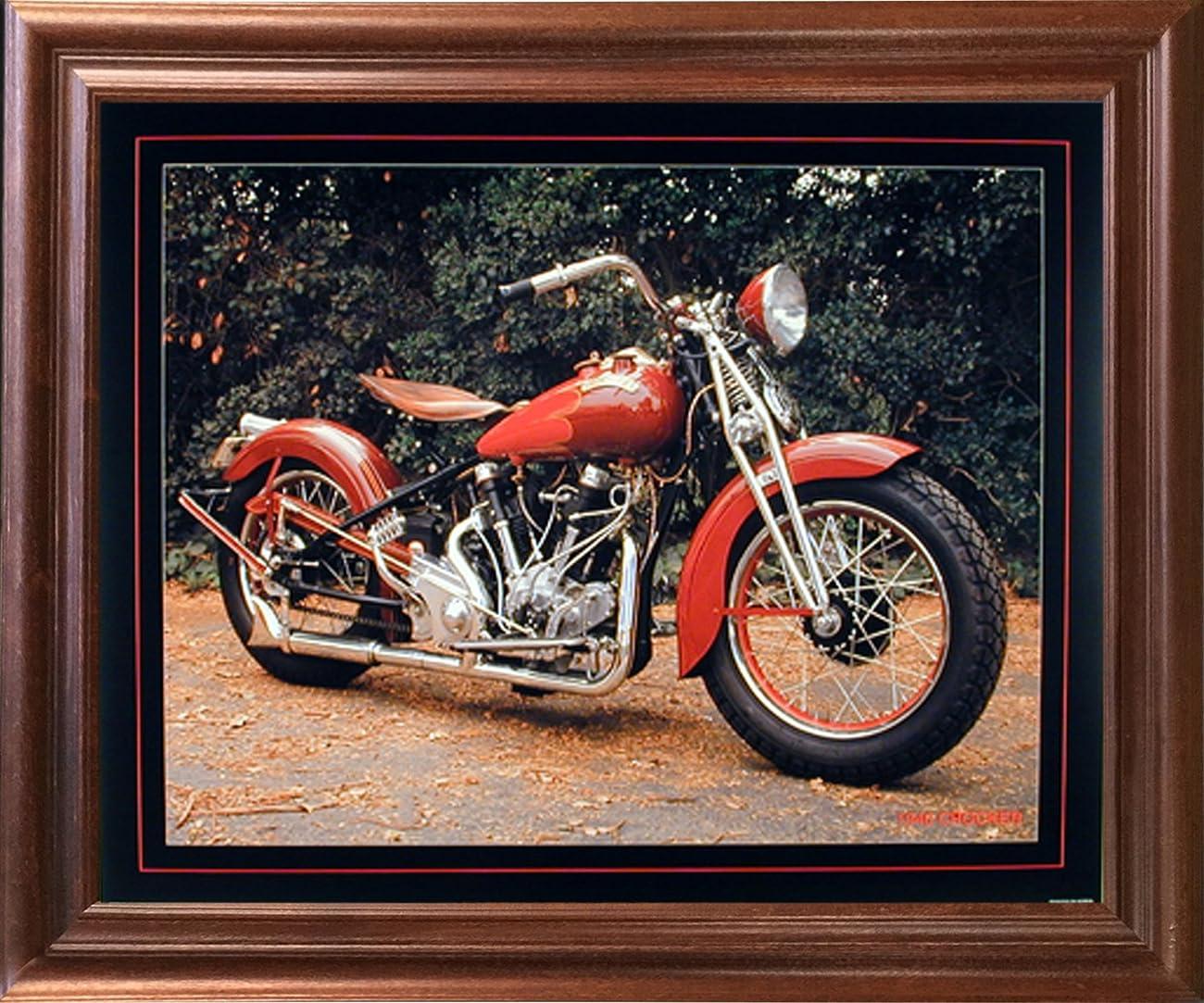 1940 Crocker Buck Lovell Vintage Motorcycle Mahogany Framed Picture Wall Art Print (18x22) 0
