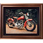 1940 Crocker Buck Lovell Vintage Motorcycle Mahogany Framed Picture Wall Art Print (18x22)