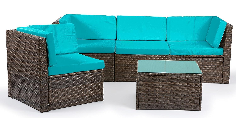 Deluxe Polyrattan Lounge Madeira schwarz 16 teilig Gartenmöbel Stahlrahmen Kissenbezüge (Türkis) jetzt kaufen