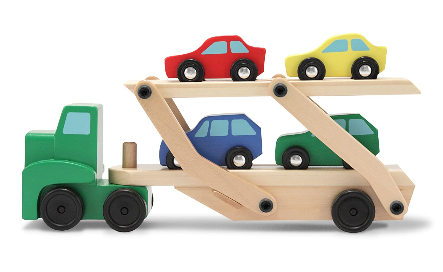 Melissa Doug Toys : Melissa doug car carrier truck wooden kids toys set