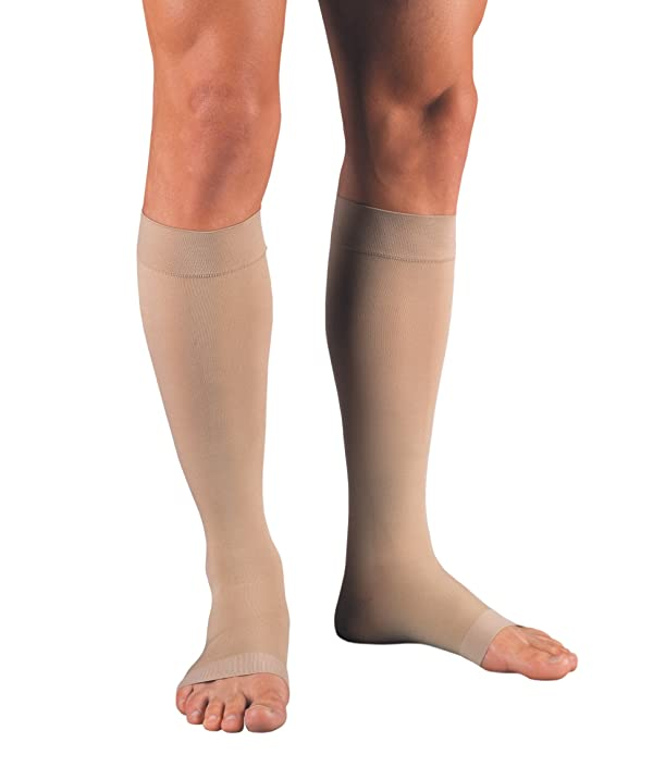 Jobst Relief 20-30 Knee High Open Toe Beige Compression Stockings, X-Large Full Calf (Color: Beige, Tamaño: X-Large Full Calf)