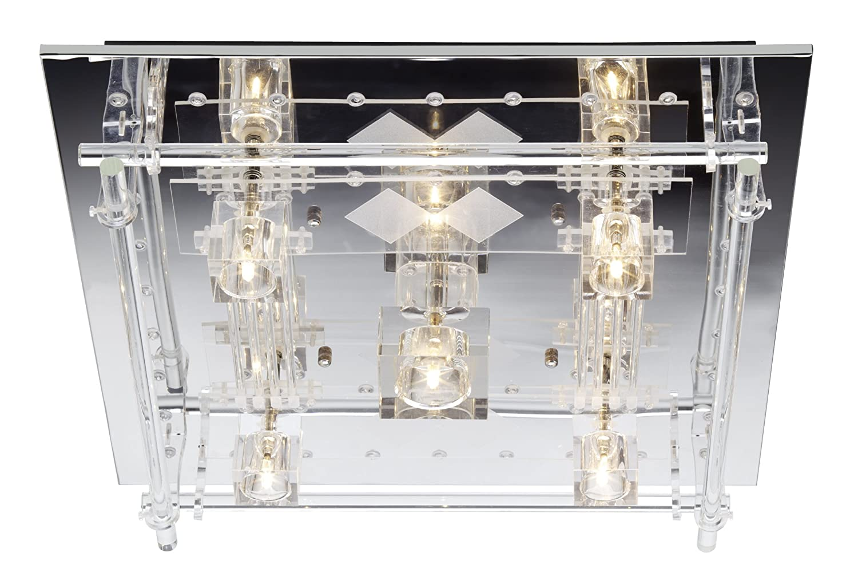 Brilliant Donia Deckenleuchte, 5-flammig mit Fernbedienung, G4, 5 x 20W, Metall/Kunststoff/Glas, chrom / transparent G93915/72