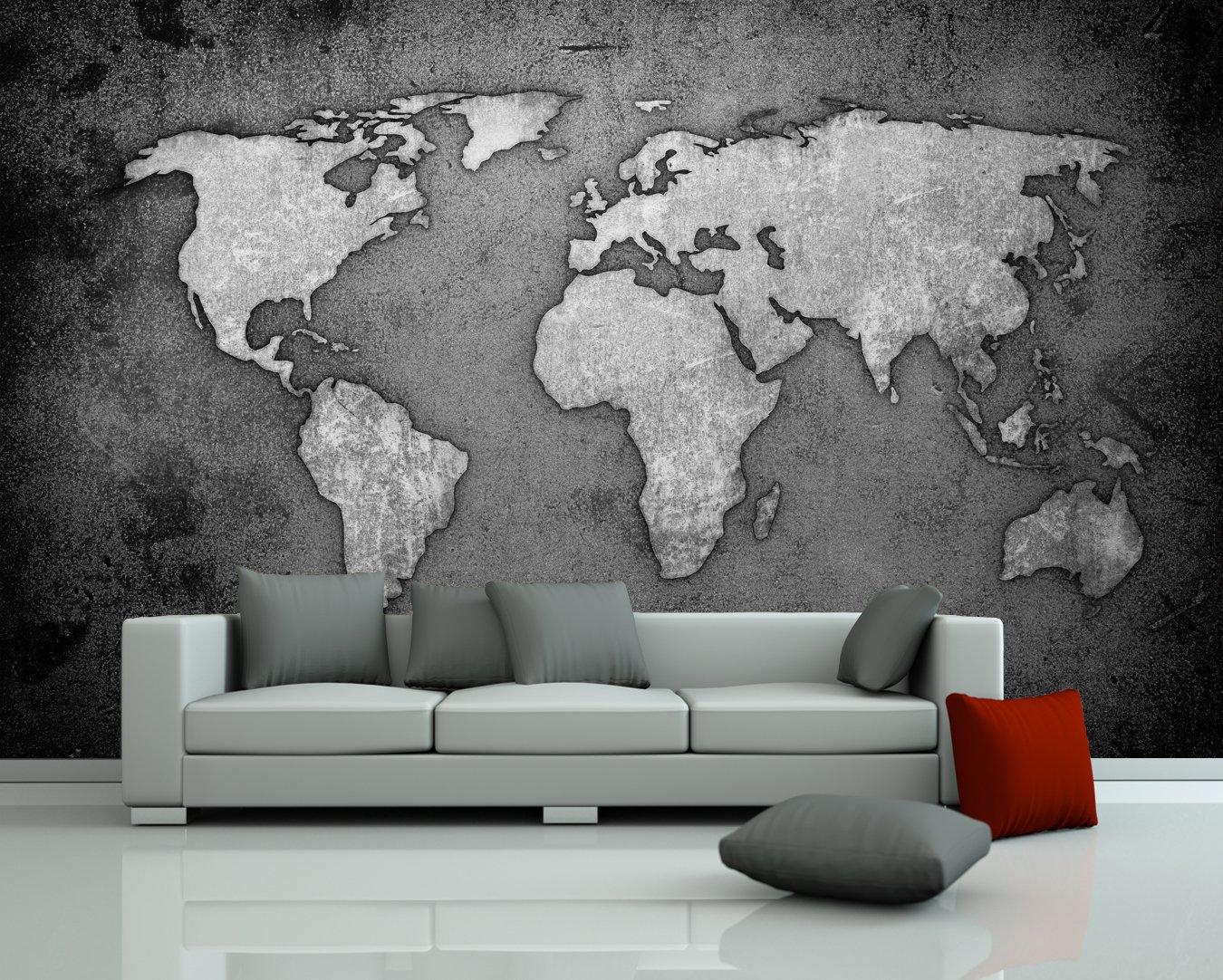 Bilderdepot24 selbstklebende Fototapete Weltkarte  schwarz weiss 360x230 cm  direkt vom Hersteller   Kundenbewertung und weitere Informationen