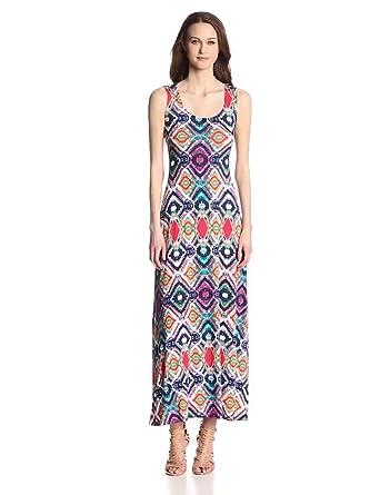Ella Moss Women's Totem Jersey Macrame Back Maxi Dress, Sunset, X-Small