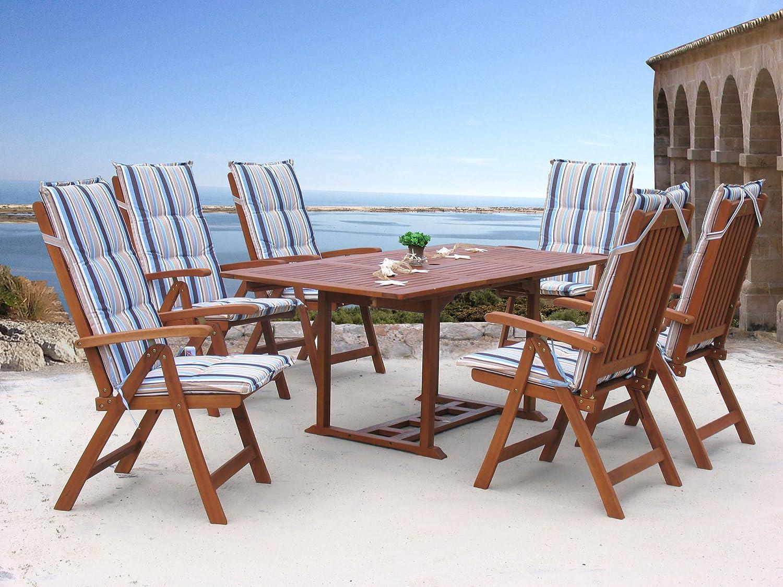 Garten Möbelgruppe Cuba 13tlg Marine mit ausziehbaren Tisch günstig bestellen