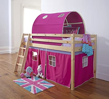 Midsleeper Cabin Bed in Pine with Tent and Tunnel in Pink & Mattress