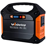 Webetop 155Wh 42000mAh Portable Generator Inverter Battery 100W Camping Emergency Home Use UPS Power Source Charged by Solar Panel/Wall Car with 110V AC Outlet,3 DC 12V,3 USB Port (Color: 155WH Generator, Tamaño: 155WH-Generator)