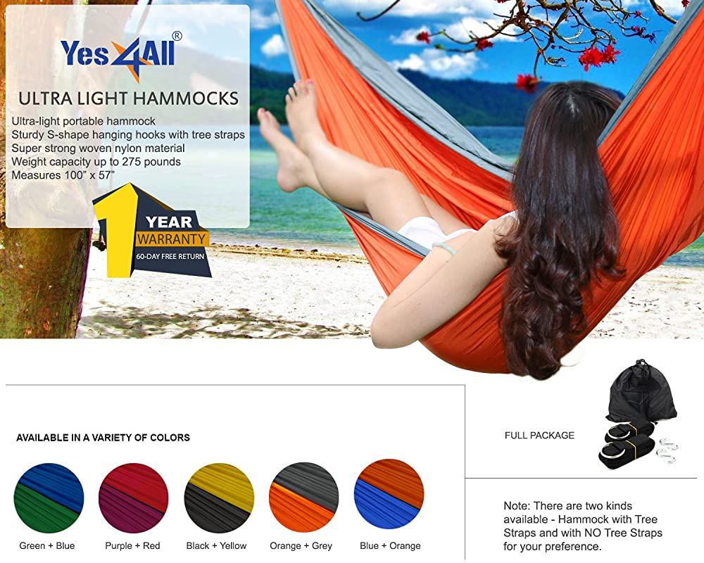 Yes4All Single and Double Hammocks- Nylon Parachute, Ultra-light Portable Hammock for Light Backpacking, Hiking, Camping, and Travel. Hammock Stuff Bag offered