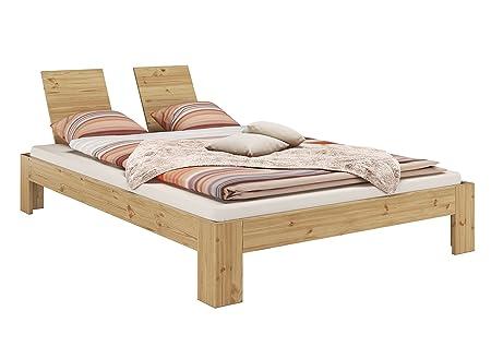 Moderno matrimoniale 140x200 Pino Eco laccato con assi di legno e materasso 60.67-14-Leo M