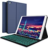 iPad Keyboard Case for New 2018 iPad, 2017 iPad, iPad Pro 9.7, iPad Air 1 and 2/BT Backlit Detachable Quiet Keyboard – Slim Leather Folio Cover – 7 Color Backlight – Apple Tablet (9.7, Blue) (Color: Blue, Tamaño: 9.7)
