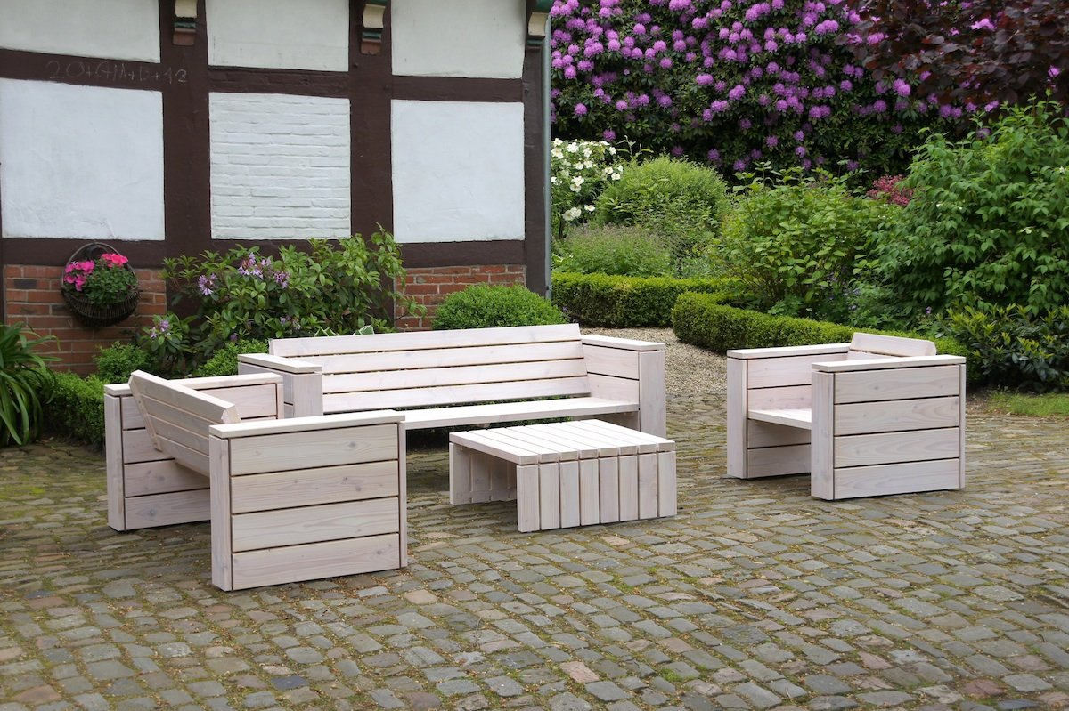 binnen-markt Lounge Gruppe 3 Heimisches Holz Douglasie Weiß Geölt
