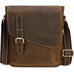 Kattee Casual Leather Cross Body Shoulder Satchel Mens Bag - Dark Coffee