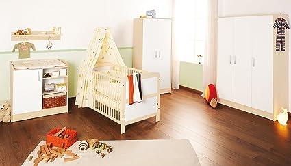 Pinolino Kinderzimmer Florian breit groß, 3-teilig, bestehend aus Kinderbett (140 x 70 cm), breite Wickelkommode mit Wickelansatz und großem Kleiderschrank, cremeweiß/Ahorn (Art.-Nr. 10 00 95 BG)