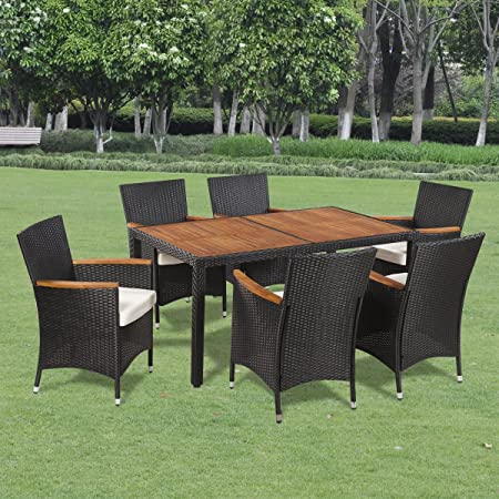 SSITG Poly Rattan Garden Furniture Dining Set Table + Chairs Wood