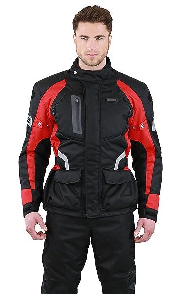 NERVE 1511151801_06 Spark Blouson Moto Touring Textile, Noir/Rouge, Taille : XXL