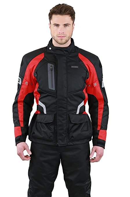 NERVE 1511151801_02 Spark Blouson Moto Touring Textile, Noir/Rouge, Taille : S