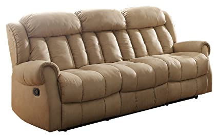 Homelegance 8535BE-3 Double Reclining Sofa, Beige Fabric