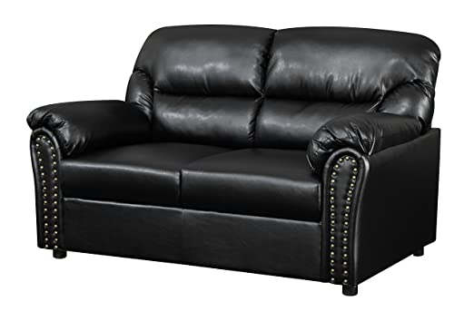 Glory Furniture G263-L Living Room Love Seat, Black
