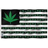 Anley [Fly Breeze 3x5 Foot Marijuana Leaf USA Polyester Flag - Vivid Color and UV Fade Resistant - Canvas Header and Double Stitched - US Marijuana Leaves Flags with Brass Grommets 3 X 5 Ft (Color: Marijuana, Tamaño: 3 X 5 Ft)
