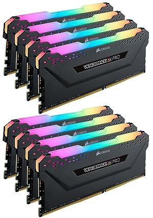 Corsair RGB PRO 64GB (8x8GB) DDR4 2933 (PC4-23400) C16 Desktop Memory - Black (CMW64GX4M8Z2933C16) (Color: RGB PRO - Black, Tamaño: 64GB (8x8GB)
