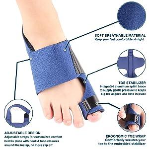 Bunion Corrector Bunion Pain Relief - Bunion Splints Big Toe Straightener for Hallux Valgus Aid Surgery Fits for Men & Women by Toe Glow (Blue) (Color: Blue)