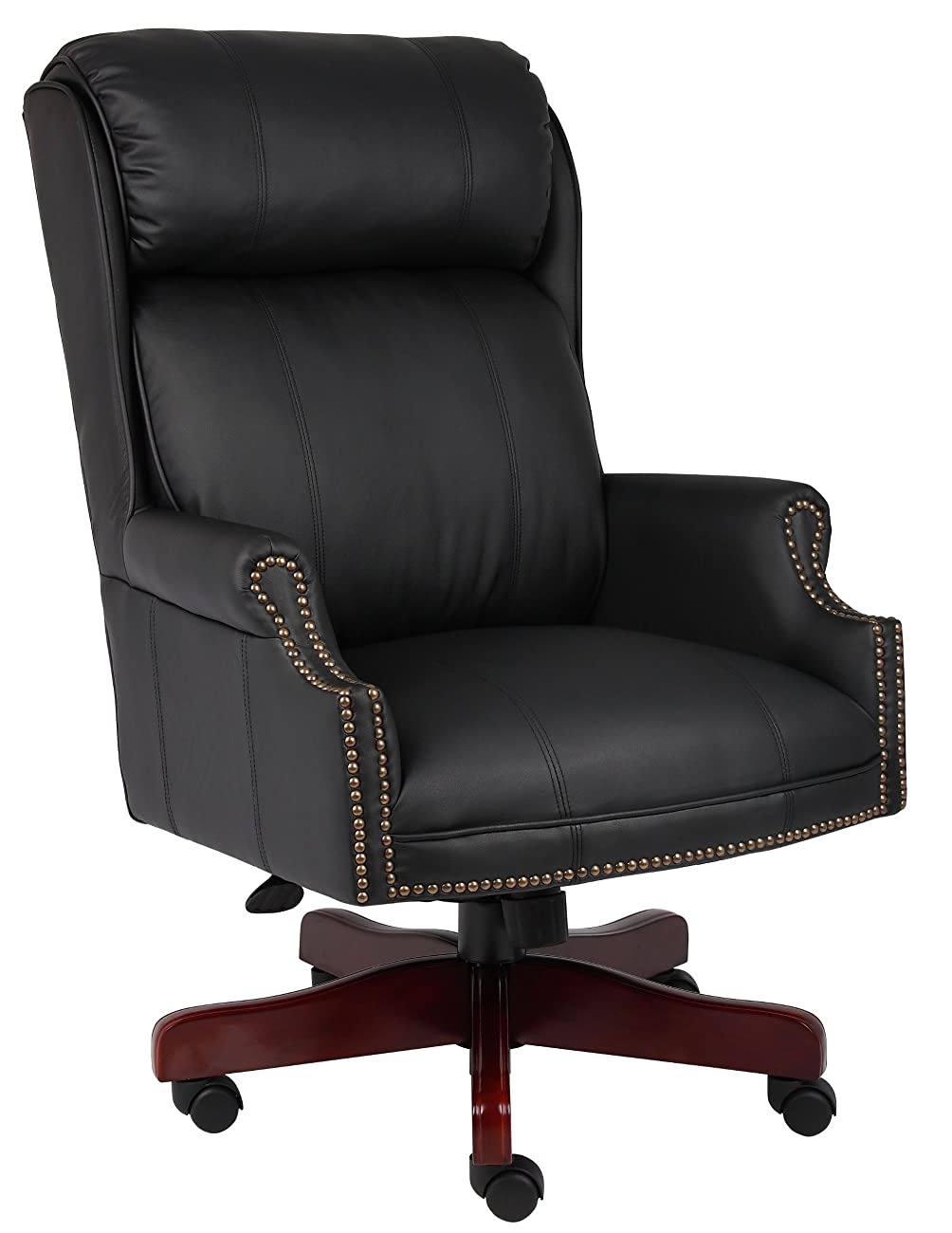 Boss Office Products B980-CP Traditional High Back CaressoftPlus Chair with Mahogany Base in Black 0