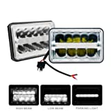 SLDX 4 x 6'' Led Sealed Beam (One Pair) Headlight High/Low Beam With Parking Light Replace HID Xenon H4651 H4652 H4656 H4666 H6545 Fit for Peterbilt Kenworth Freightliner -2 Year Warranty (Color: Silvery)