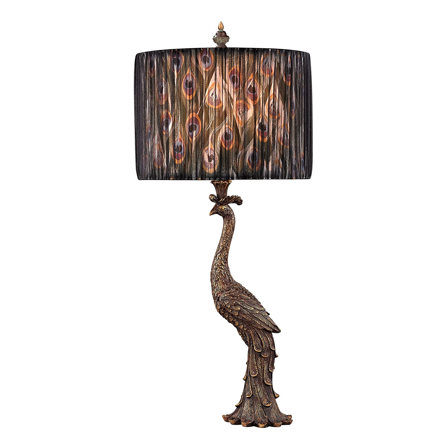 Attractive Shade Color: Peacock With Transparent Black Organza Hight 27 Inches, Width  13 Inches. The Peacock Ceramic Table Lamp Which Comes In A Gaston Gold Has  A 3 ...