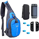 ZYJ-AWASA 5 in 1 Game Console Backpack Crossbody Travel Bag Case With Hard Case Bag ,Screen Protector ,Switch Joy con Case and Thumbsticks For Nintendo Swich Travel Kit