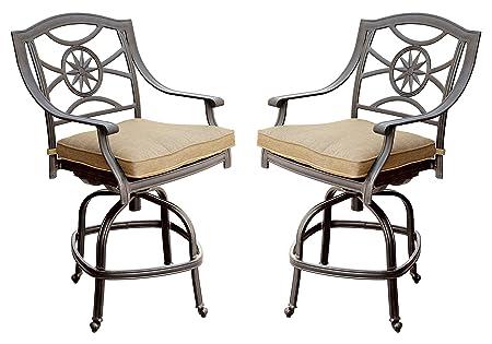 Darlee Ten Star Cast Aluminum Swivel Bar Stool with Seat Cushion, Set of 2, Antique Bronze Finish