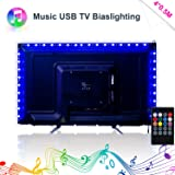 LED Strip Lights, Music LED TV Backlight USB 2M/6.56ft Color Change Sync To Beats of Music LED Light Strips For 40 To 60 IN HDTV RGB Flexible TV Light with IR Remote, LED TV Bias Lighting