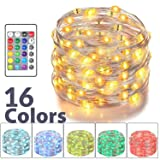 Asmader LED Fairy Lights, Battery Powered Multi Color Changing String Lights With Remote Control Waterproof Decorative Silver Wire Lights 16ft 50LEDs for Bedroom,Patio,Indoor,Party,Garden, Party(RGB)