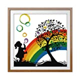 Cross Stitch Stamped Kit Quilt Pre-Printed Cross-Stitching Patterns for Beginner Kids & Adults- Embroidery Needlepoint Starter Kits, Rainbow Bubble Girl (Color: Stamped 20.1x20.2 inch, Tamaño: 16.2x16.2 inch)