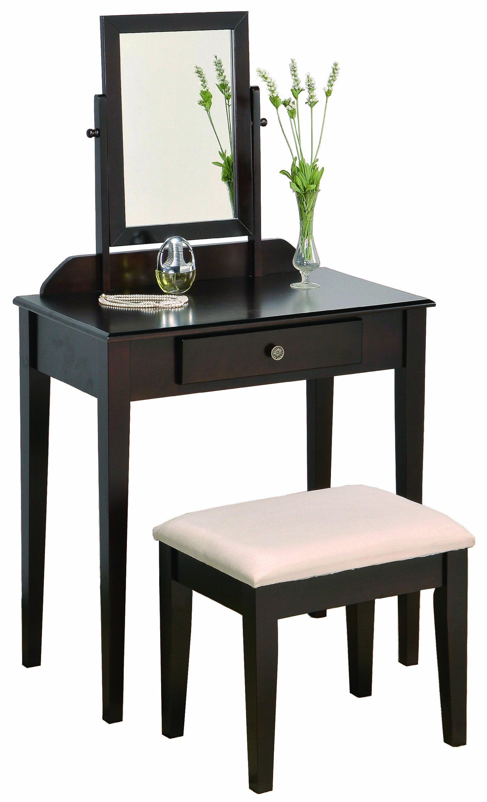 Crown Mark Iris Vanity Table Stool Espresso Finish With