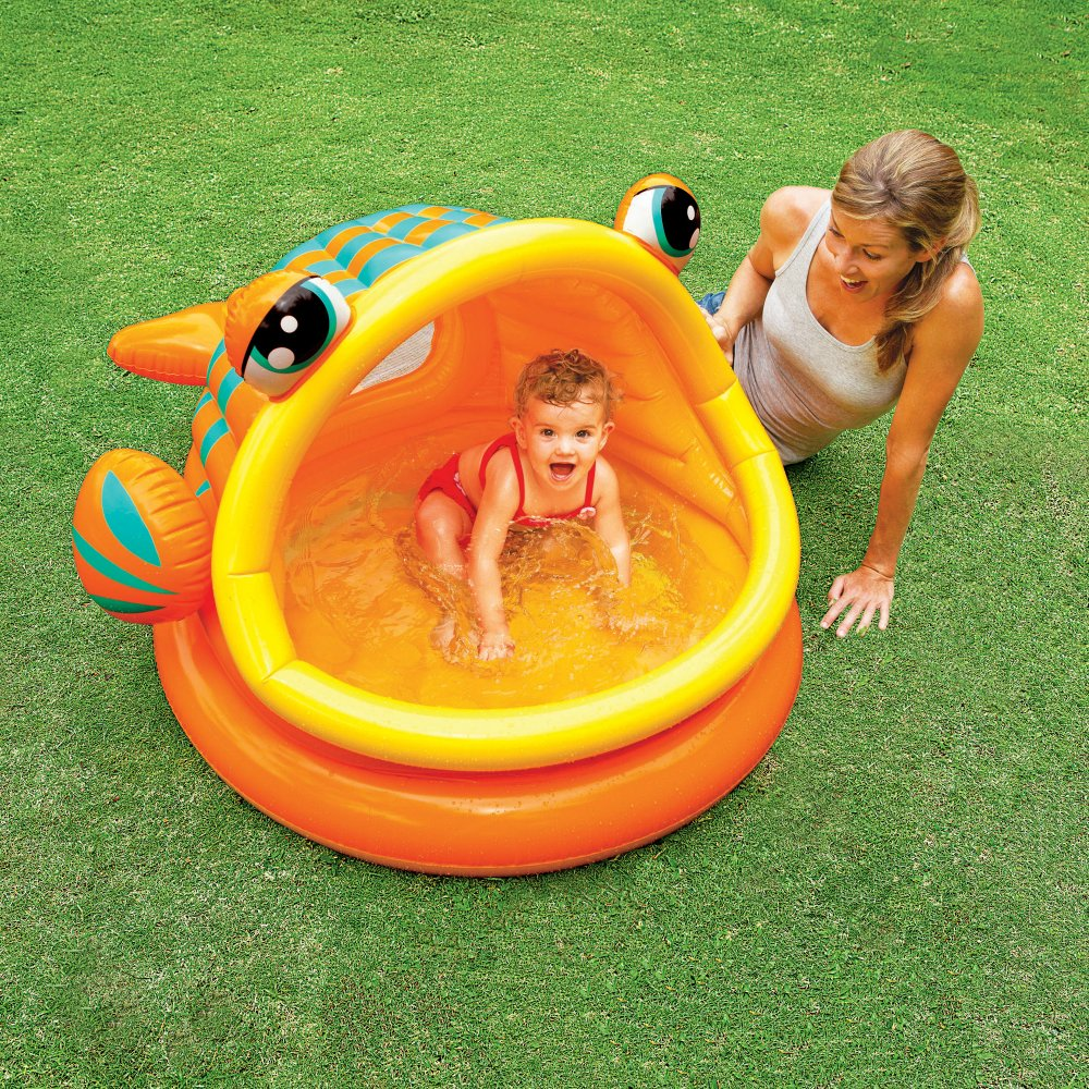 """Intex Lazy Fish Inflatable Baby Pool, 49"""" X 43"""" X 28"""", for Ages 1-3"""