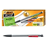 BIC MP11-BLACK Xtra-Life Mechanical Pencil, Clear Barrel, Medium Point (0.7mm), 12-Count