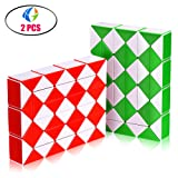Snake Speed Cube Puzzle Toys 48Parts Twist Magic Ruler Cube Pack Hand Fidget Toy Games Set Holiday Christmas Gift for Kids Children Adults Friends | White (Color: 48 parts white)