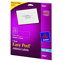 Avery Easy Peel Address Labels for Inkjet Printers, Clear, 1.333 x 4 Inches, Pack of 350 (8662)