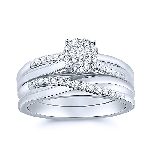 Midwest Jewellery Women's Bridal Rings Set 10K White Gold 0.3Ctw Diamonds 1Ct Round Solitaire Size Cluster Top( 0.3Cttw)