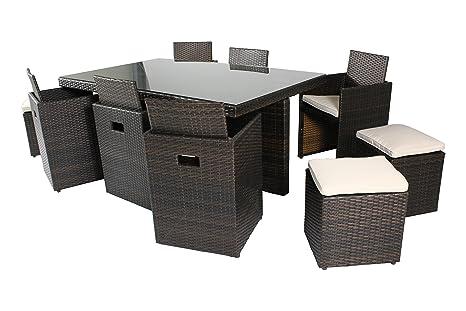 DCB GARDEN Encastrable avec Table/6 Fauteuils/4 Poufs Chocolat 170 x 105 x 72 cm PVC-10-CH+