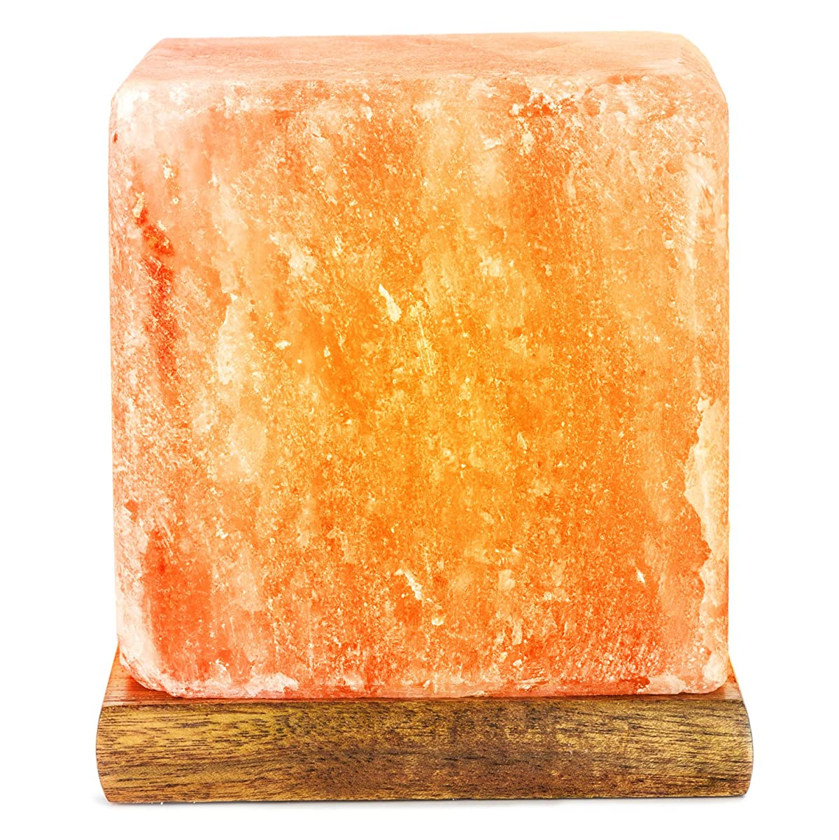 HemingWeigh Salt Lamp Rock Salt Cube Lamp 12 Cm on Wood Base, Electric Wire and Bulb Included [Hand Crafted Salt Lamp]