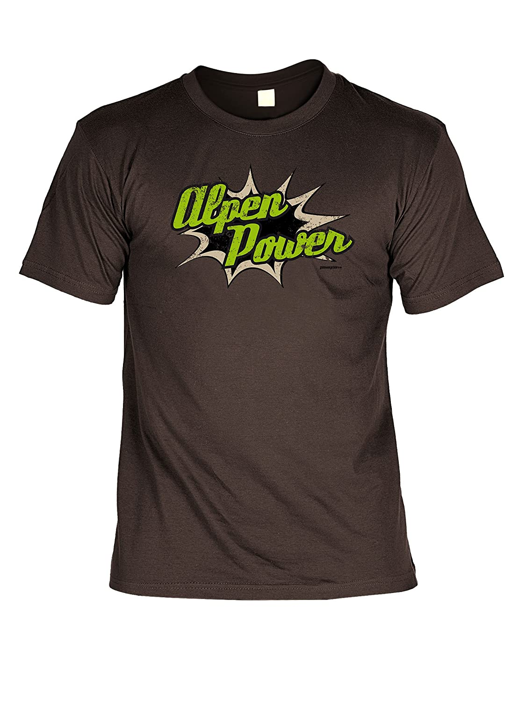 Volksfest T-Shirt Alpen Power Wiesn 2015 Tracht T-Shirt zur Lederhosn Volksfest Trachten Outfit Farbe: braun jetzt kaufen