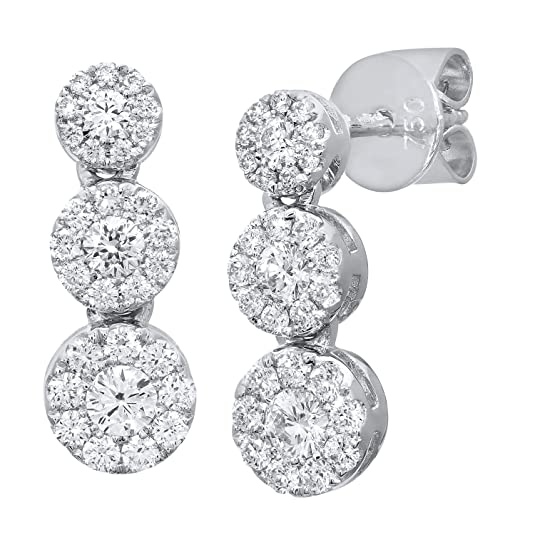 Naava 18 ct White Gold Halo Set Certified G/SI1 Triple Diamond Ascending Drop Earrings