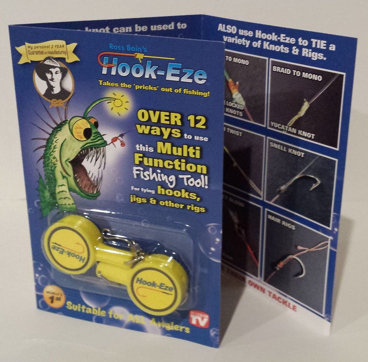 1 HOOK-EZE Twin Pack - CHOOSE YOUR COLOR - Fishing Safety Tying Device + Line cutter and more